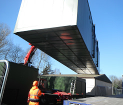 Container unit being delivered