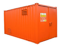 Orange container unit used for COSHH Storage