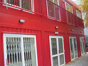 Red modular container buildings