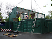 modular container building under construction