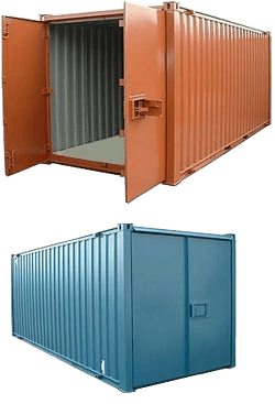 Orange shipping container with doors open and a blue shipping container with doors closed